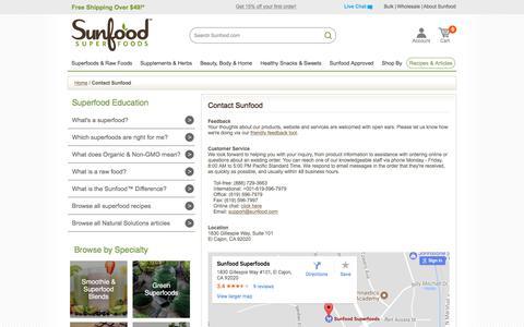 Contact Sunfood | Sunfood.com