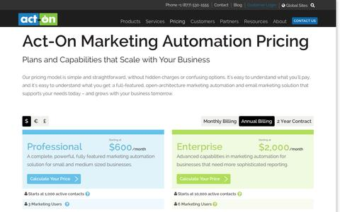Screenshot of Pricing Page act-on.com - Act-On Marketing Automation Pricing - captured Nov. 2, 2015