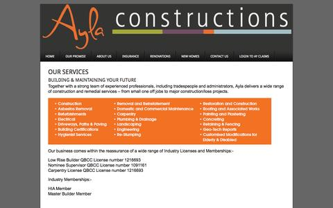 Screenshot of Services Page aylaconstructions.com.au - Our Services - Ayla Constructions - captured Sept. 30, 2014