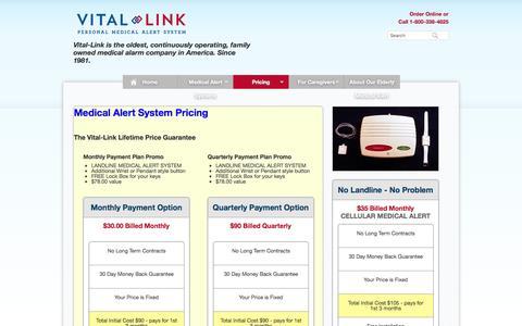 Screenshot of Pricing Page avitallink.com - Medical Alert System Pricing   Medical Alert Prcing from $19.00/Month - captured Dec. 12, 2015