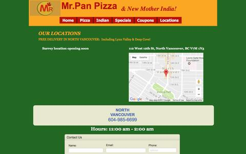 Screenshot of Locations Page mrpanpizza.ca - Locations & Contcts | North Vancouver - captured Jan. 26, 2017