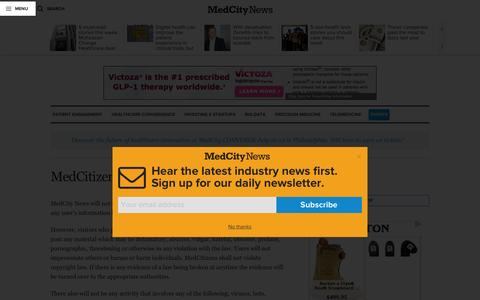 Screenshot of Terms Page medcitynews.com - MedCitizen Terms of Service - MedCity NewsMedCity News - captured July 4, 2016