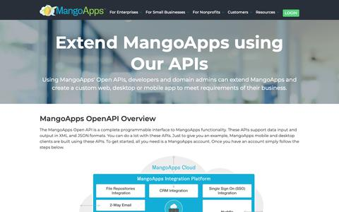 Screenshot of Developers Page mangoapps.com - Extend Your Digital Workplace Platform Using Restful APIs | MangoApps - captured Oct. 2, 2018