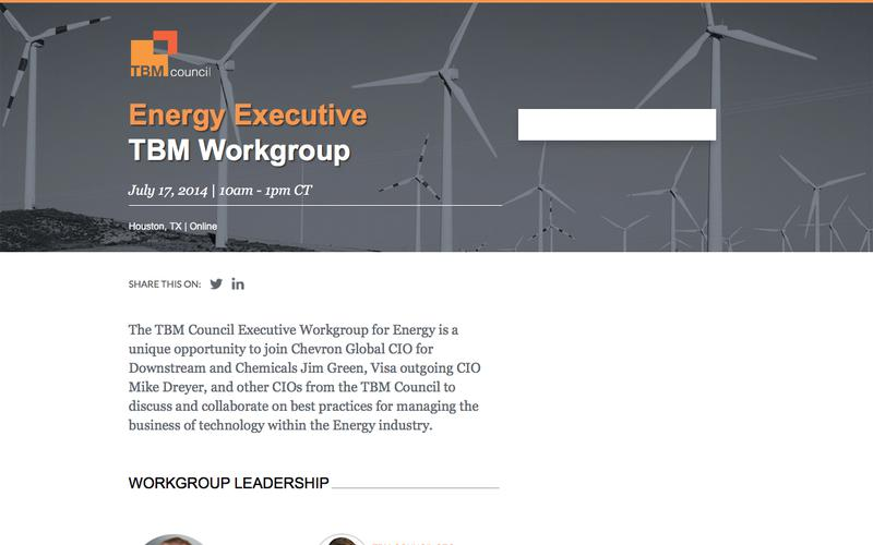 Energy Executive TBM Workgroup - July 17, 2014