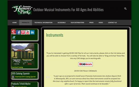 Screenshot of Products Page freenotesharmonypark.com - Instruments | Outdoor Musical Instruments For All Ages And Abilities - captured Feb. 10, 2016