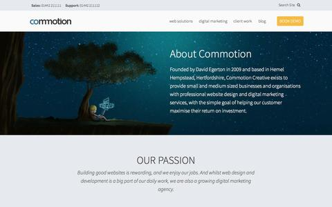 Screenshot of Testimonials Page commotion.co - About Commotion Creative in Hemel Hempstead, Herts. - captured Oct. 8, 2014