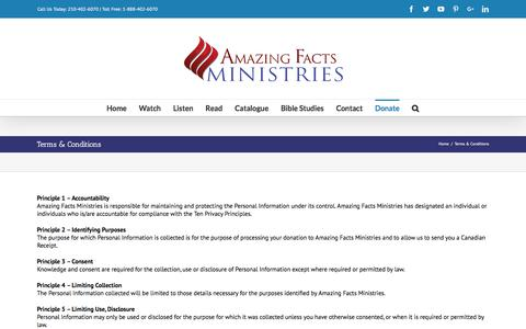 Screenshot of Terms Page amazingfactsministries.com - Terms & Conditions – Amazing Facts Ministries - captured July 29, 2018