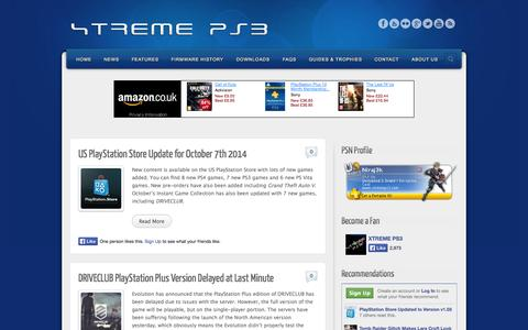Screenshot of Home Page xtremeps3.com - XTREME PS3 | News, FAQs, Firmware History, Guides and Tutorials - captured Oct. 9, 2014
