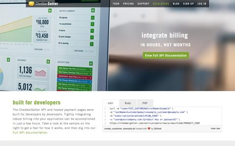 Screenshot of Developers Page cheddargetter.com - Developers | Subscription Management and Recurring Billing | CheddarGetter - captured Dec. 8, 2015