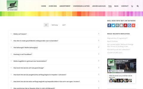 Screenshot of FAQ Page verfland.be - FAQ - Vraag & Antwoord - Verfland - captured Oct. 27, 2017