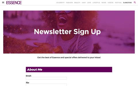 Screenshot of Signup Page essence.com - Newsletter | Essence.com - captured June 14, 2017
