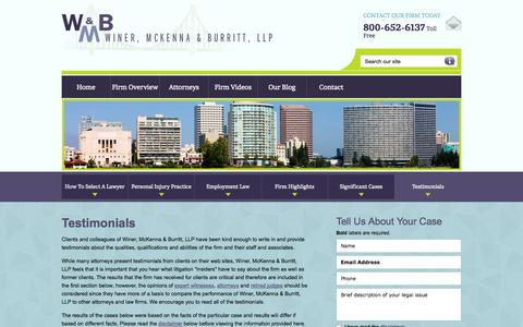 Screenshot of Testimonials Page wmlawyers.com - Testimonials | Winer, McKenna & Burritt, LLP | Oakland, California - captured Oct. 7, 2014
