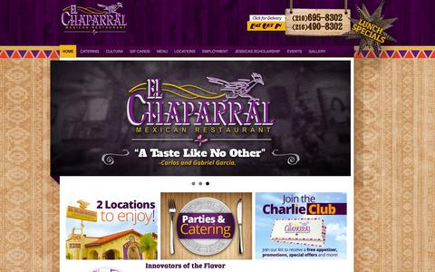 Screenshot of Home Page elchaparral.com - El Chaparral | Mexican Restaurant San Antonio Tx - captured Jan. 26, 2015