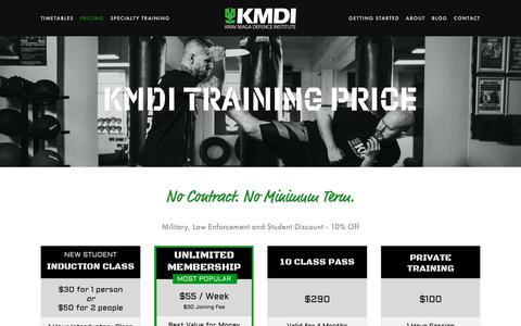 Screenshot of Pricing Page kmdi.com.au - Pricing — Krav Maga Defence Institute   Sydney's #1 Self-Defence Gym - captured Dec. 20, 2018