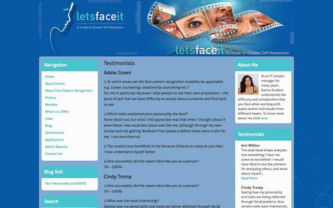 Screenshot of Testimonials Page hkdns.co.za - Testimonials | letsfaceit - captured Oct. 9, 2014