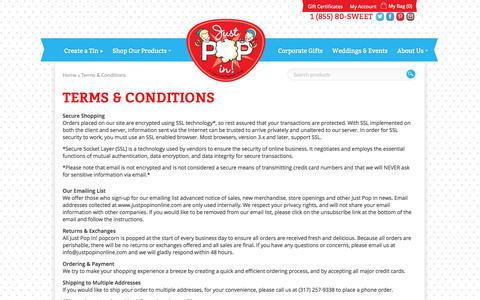 Screenshot of Terms Page justpopinonline.com - Just Pop In! Terms & Conditions - captured Oct. 6, 2014