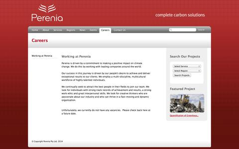 Screenshot of Jobs Page pereniacarbon.com - Perenia: Complete Carbon Solutions – Careers – Working at Perenia - captured Oct. 2, 2014