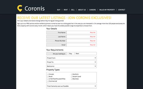 Screenshot of Login Page coronis.com.au - Receive our latest listings - join coronis exclusives! - captured Oct. 5, 2014