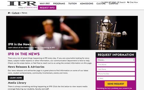 Screenshot of Press Page ipr.edu - News | IPR - captured Nov. 19, 2016