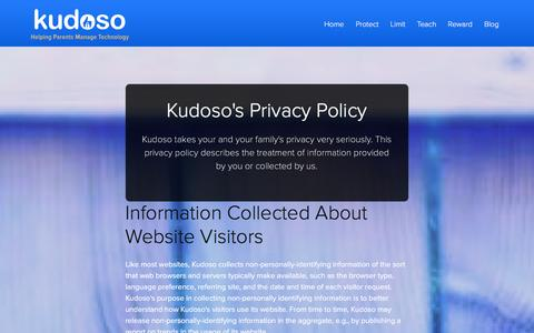 Screenshot of Privacy Page kudoso.com - Kudoso helps families manage the influence of technology - captured Jan. 9, 2016