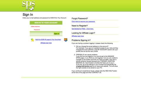 Screenshot of Login Page singlepropertysites.com - Redirect to Client LOGIN page - captured Oct. 1, 2014