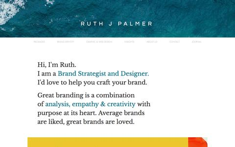 Screenshot of Home Page ruthjpalmer.co.uk - Ruth J Palmer Brand Strategy & Graphic Design - captured July 20, 2019
