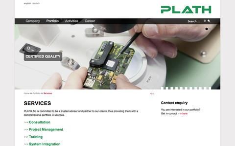 Screenshot of Services Page plath-ag.ch - Services - PLATH AG - Solutions for COMINT, EW and ICM - captured Sept. 26, 2014