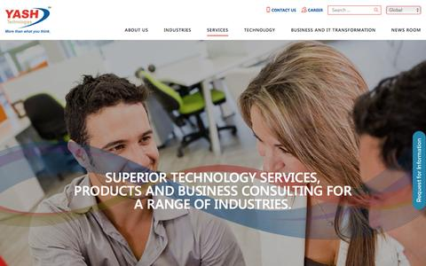 Screenshot of Services Page yash.com - Information Technology Services | Business Information Technology Consultant | IT Consulting Services - captured Aug. 30, 2016
