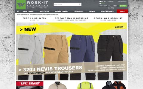 Screenshot of Home Page work-it-wear.com - WORK-IT Workwear  |  Discover Performance - captured Oct. 9, 2014