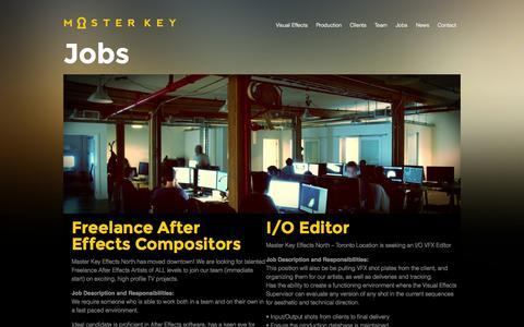 Screenshot of Jobs Page mkvfx.com - Jobs | Master Key VFX - captured Oct. 27, 2014
