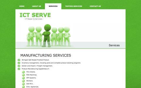 Screenshot of Services Page ictserve.com - ICT Serve - Services - captured Oct. 3, 2014