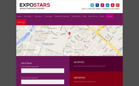 Screenshot of Contact Page expostars.com - Contact - Expo Stars - captured Feb. 1, 2016