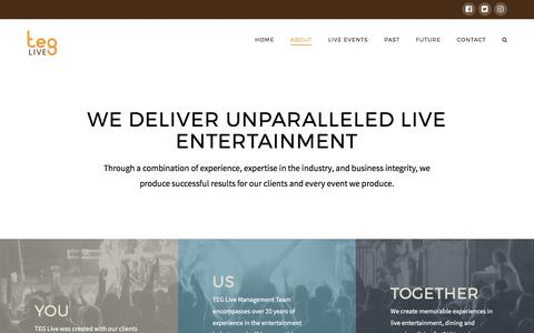 Screenshot of About Page teglive.com - About - TEG Live - captured June 13, 2017