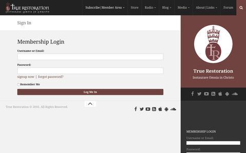 Screenshot of Login Page truerestoration.org - Sign In – True Restoration - captured Dec. 20, 2016