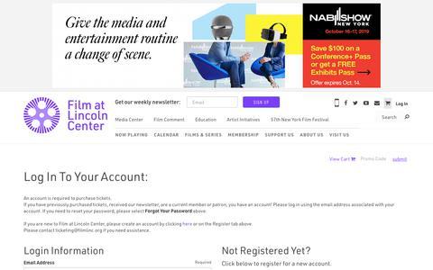 Screenshot of Login Page filmlinc.org - Log In | Film at Lincoln Center - captured Oct. 4, 2019