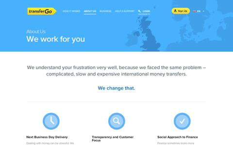 Screenshot of About Page transfergo.com - About TransferGo - We work for you | TransferGo.com - captured Sept. 12, 2014