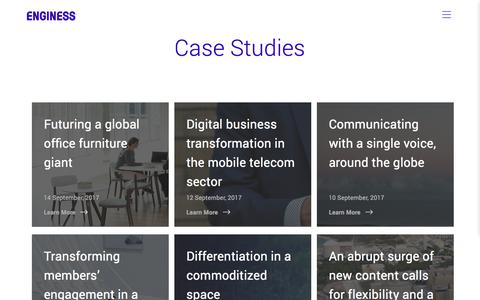 Screenshot of Case Studies Page enginess.io - Case Studies | Enginess - captured Nov. 8, 2017
