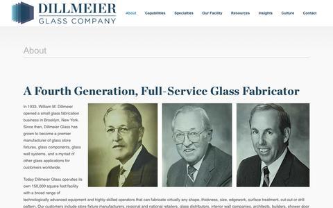 Screenshot of About Page dillmeierglass.com - About - Dillmeier Glass Company - captured Nov. 24, 2016