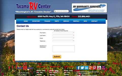 Screenshot of Contact Page tacomarv.com - Tacoma RV Center | Contact us | Home of the Lifetime Warranty - captured Oct. 27, 2014