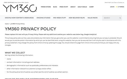 Screenshot of youthministry360.com - ym360 Privacy Policy  | youthministry360 - captured Oct. 3, 2015