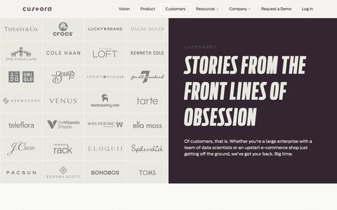 Screenshot of Case Studies Page custora.com - Customers - Custora - captured Nov. 4, 2018