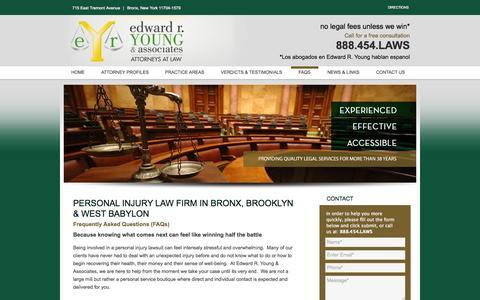 Screenshot of FAQ Page edwardryoung.com - Bronx & Brooklyn Injury Law Firm   Personal Injury FAQs   Edward R. Young & Associates - captured Oct. 2, 2014