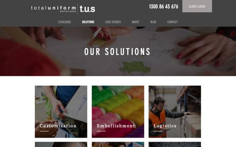 Screenshot of Services Page uniform.com.au - Our Uniform Solutions | Total Uniform Solutions - captured Oct. 20, 2018