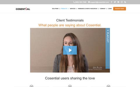 Screenshot of Testimonials Page cosential.com - Cosential Commercial CRM: Customer Testimonials - captured Aug. 22, 2019