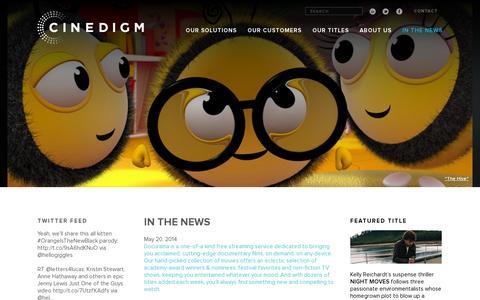 Screenshot of Press Page cinedigm.com - IN THE NEWS | Cinedigm - captured July 21, 2014