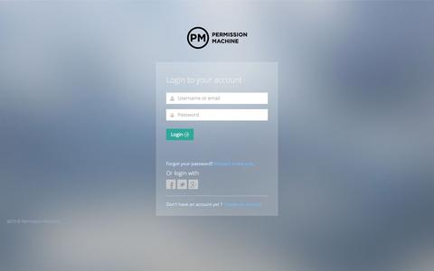 Screenshot of Login Page permissionmachine.com - Permission Machine - captured July 20, 2015