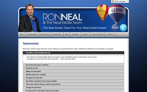Screenshot of Testimonials Page ronneal.com - Testimonials - Ron Neal - The Neal Estate Team for Your Real Estate Dream - captured Oct. 6, 2014