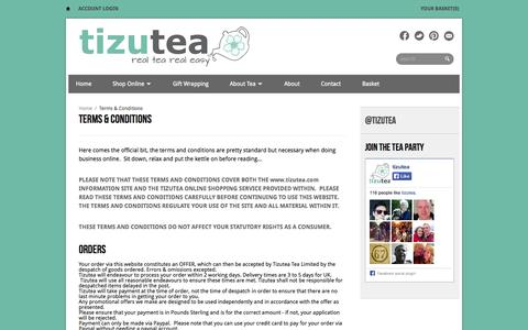 Screenshot of Terms Page tizutea.com - Terms & Conditions | tizutea - captured Oct. 7, 2014