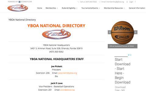 Screenshot of Contact Page yboa.org - YBOA National Directory | Youth  Basketball of America (YBOA) - captured June 29, 2018