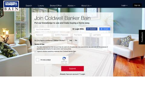 Screenshot of Signup Page coldwellbankerbain.com - Signup - captured Feb. 2, 2018